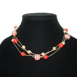 Vintage gold and red layered necklace